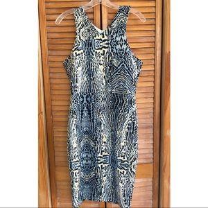 Romeo & Juliet Blue Animal Print Fitted Midi Dress